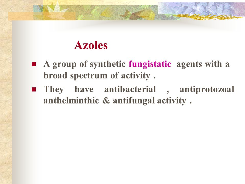 Azoles A group of synthetic fungistatic agents with a broad spectrum of activity .