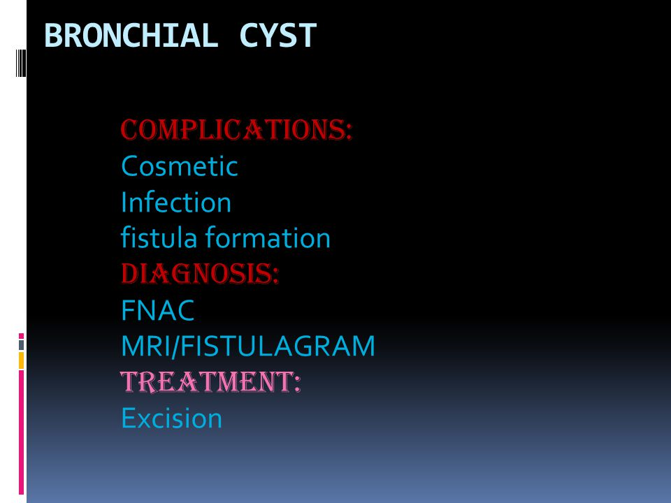 BRONCHIAL CYST COMPLICATIONS: Cosmetic Infection fistula formation DIAGNOSIS: FNAC MRI/FISTULAGRAM TREATMENT: Excision