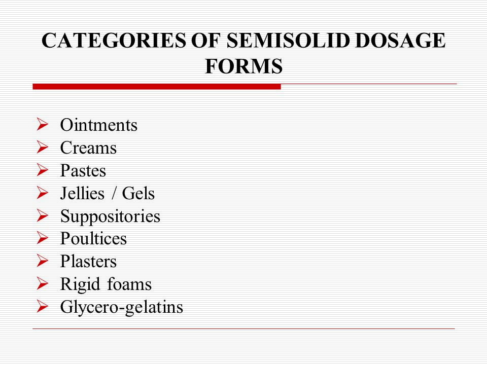 CATEGORIES OF SEMISOLID DOSAGE FORMS