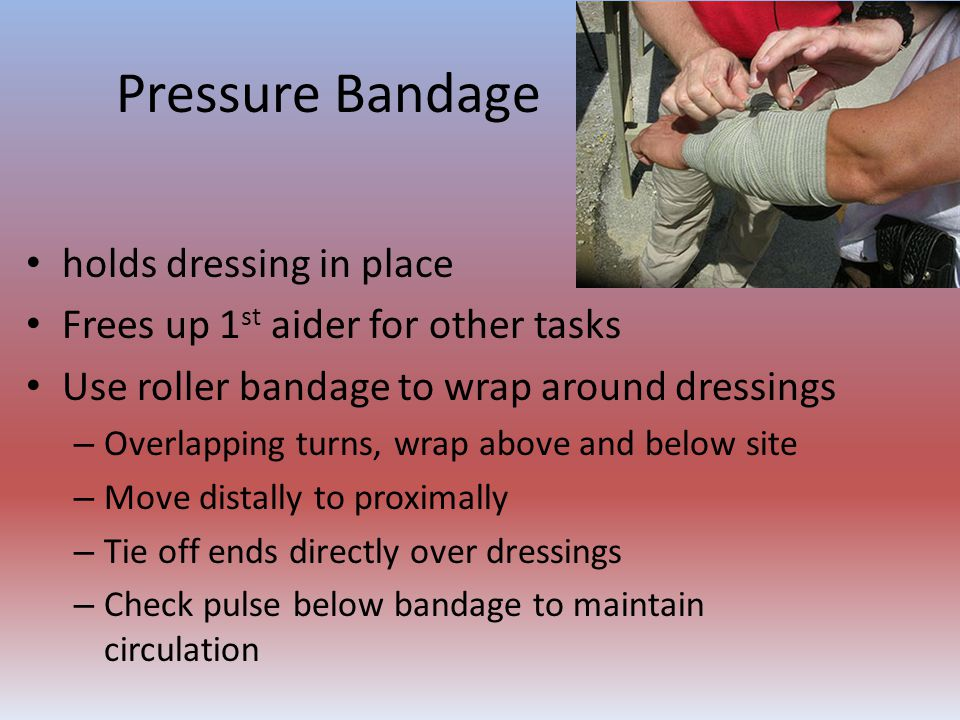 Pressure Bandage holds dressing in place