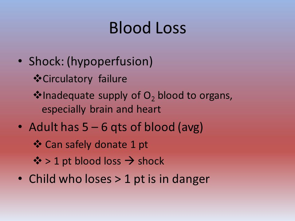 Blood Loss Shock: (hypoperfusion) Adult has 5 – 6 qts of blood (avg)