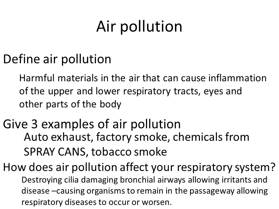 Air pollution Define air pollution Give 3 examples of air pollution