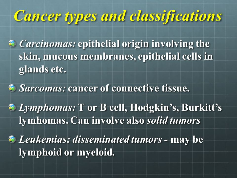 Cancer types and classifications