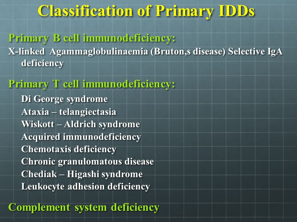 Classification of Primary IDDs