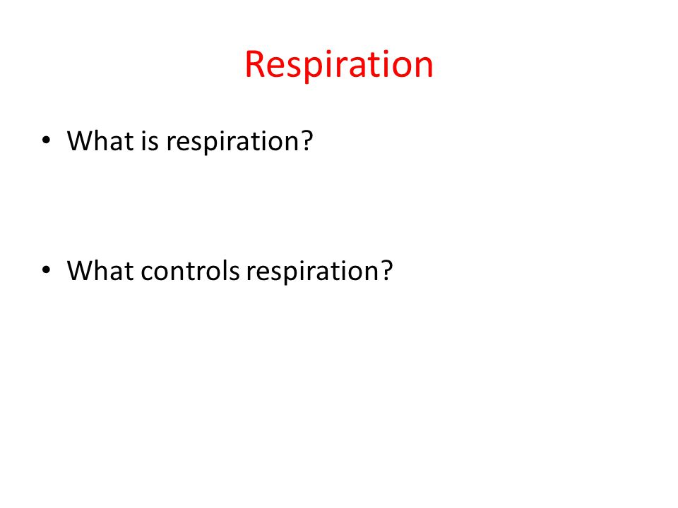 Respiration What is respiration What controls respiration