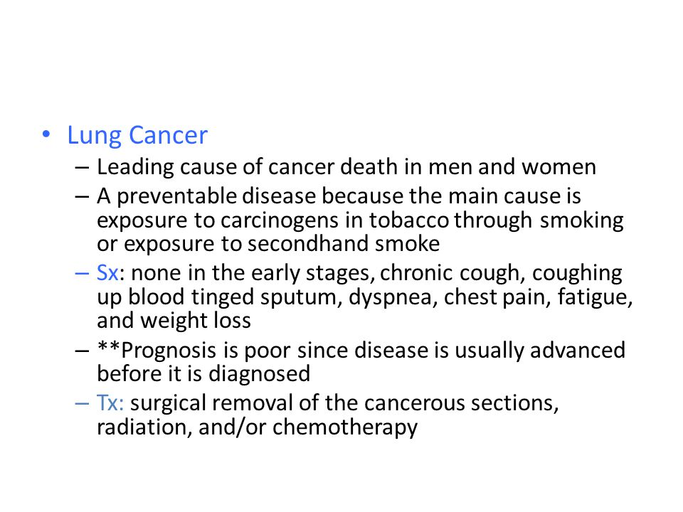 Lung Cancer Leading cause of cancer death in men and women