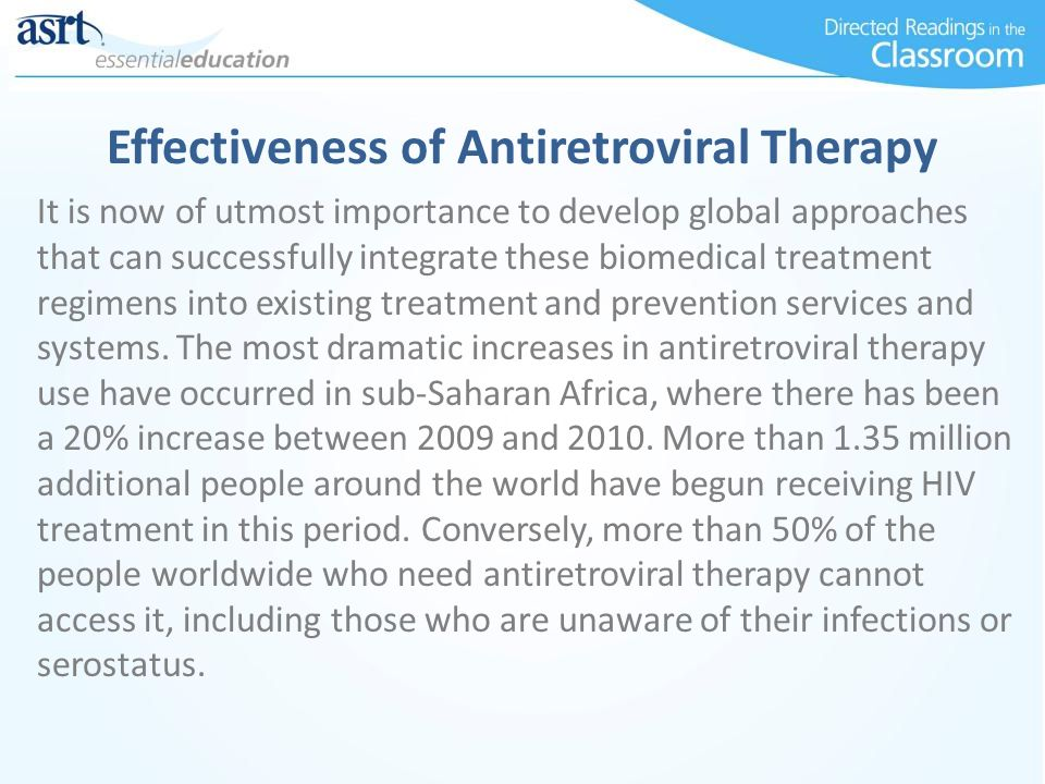 Effectiveness of Antiretroviral Therapy