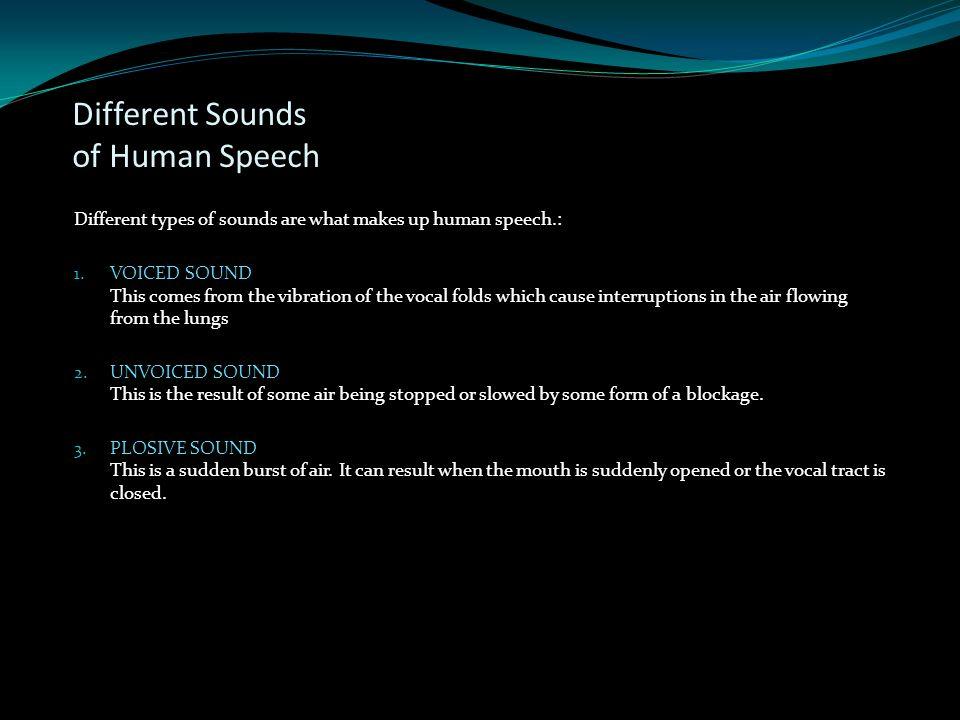 Different Sounds of Human Speech