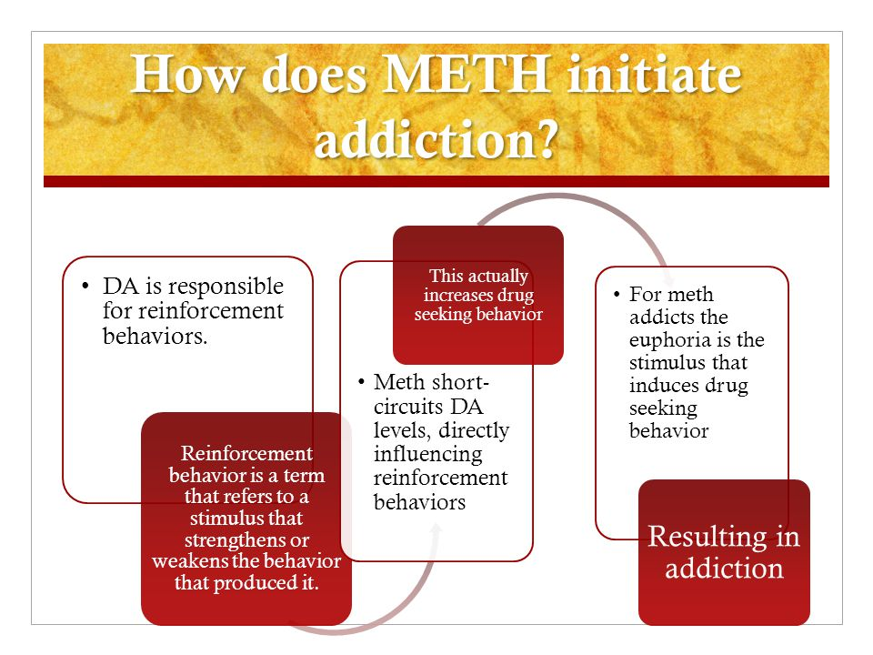 How does METH initiate addiction