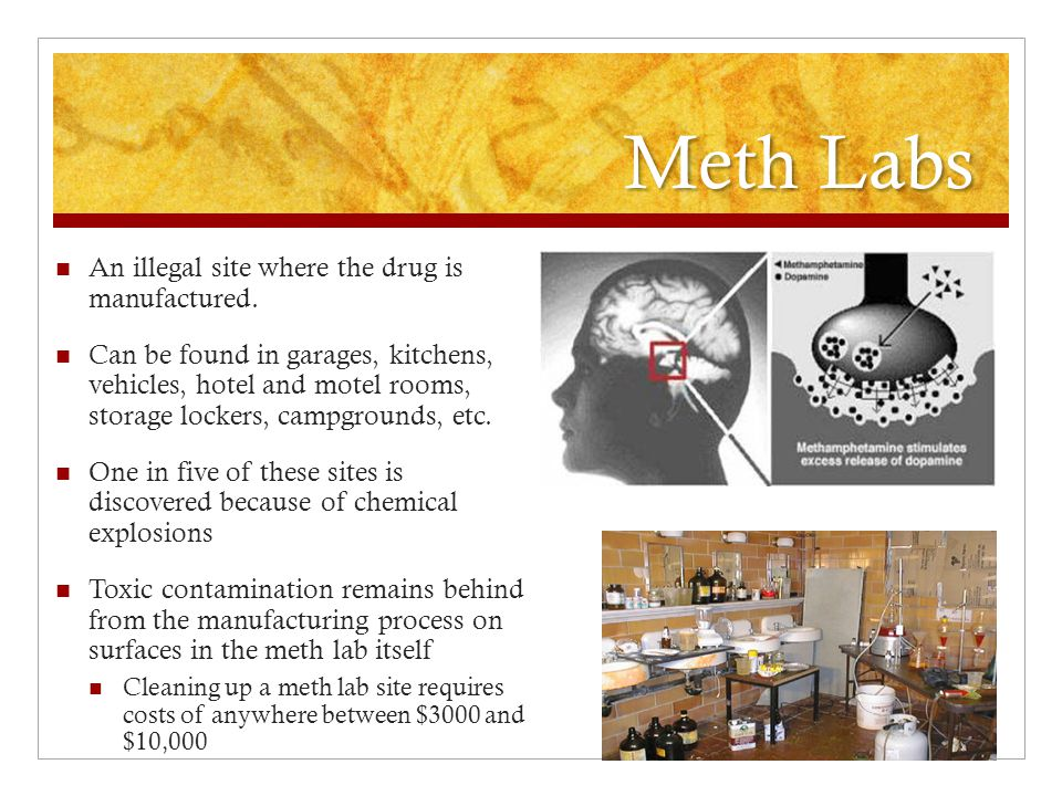Meth Labs An illegal site where the drug is manufactured.
