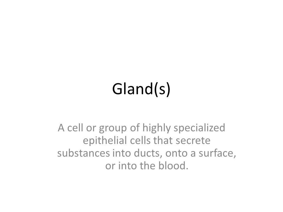 Gland(s) A cell or group of highly specialized epithelial cells that secrete substances into ducts, onto a surface, or into the blood.