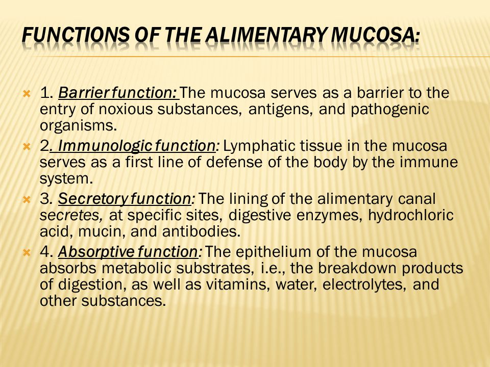 Functions of the alimentary mucosa: