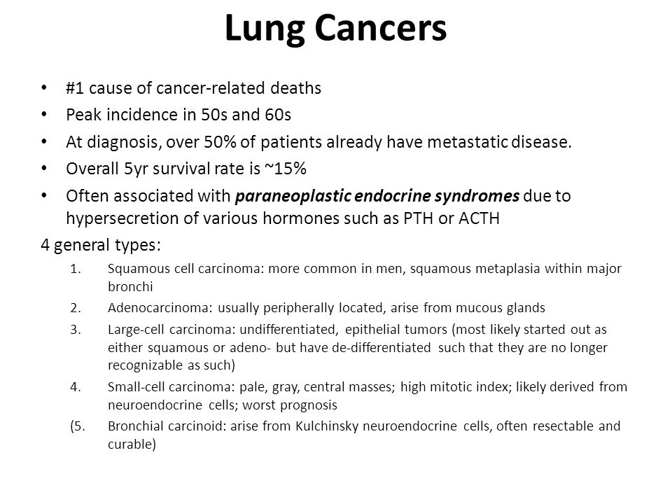 Lung Cancers #1 cause of cancer-related deaths