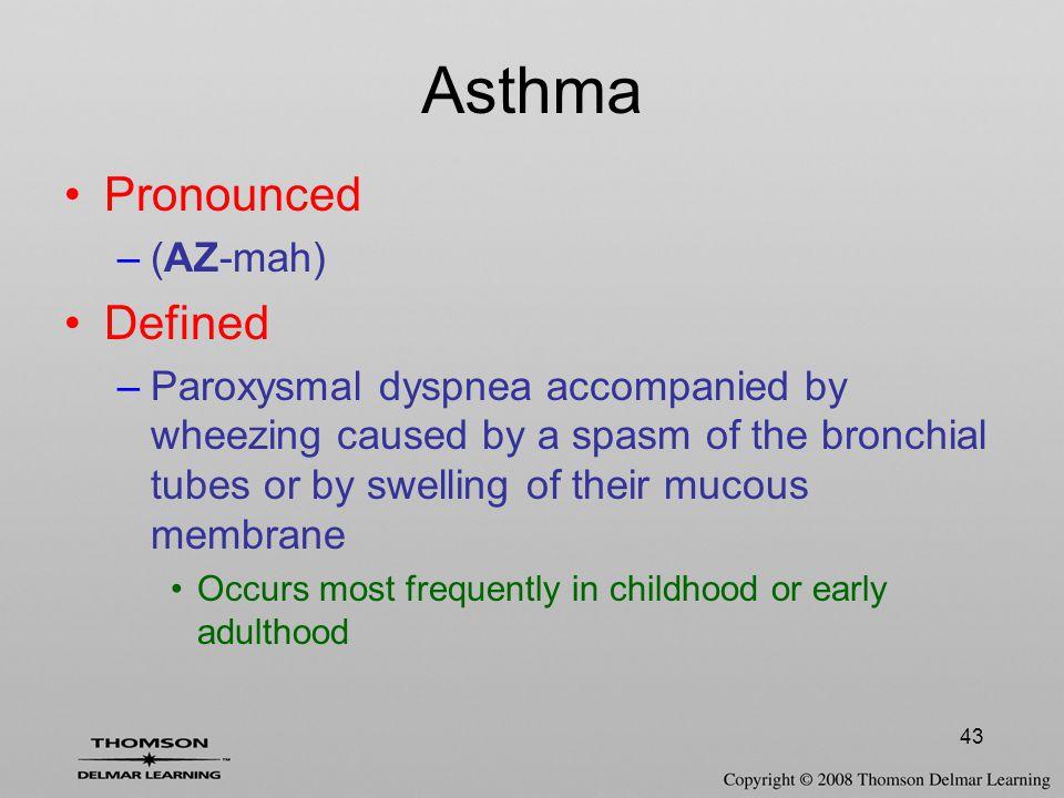 Asthma Pronounced Defined (AZ-mah)