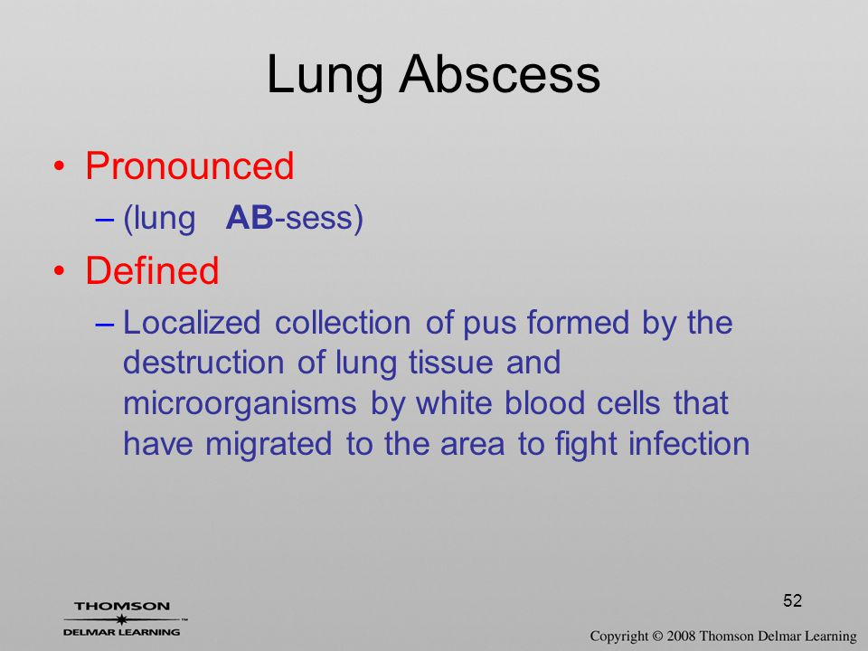 Lung Abscess Pronounced Defined (lung AB-sess)