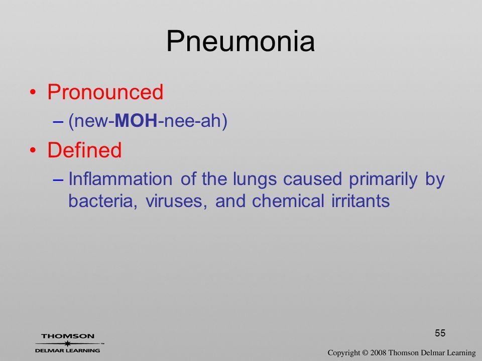Pneumonia Pronounced Defined (new-MOH-nee-ah)