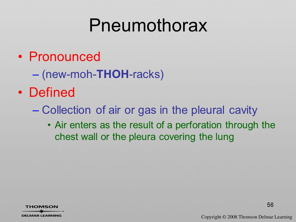 Pneumothorax Pronounced Defined (new-moh-THOH-racks)