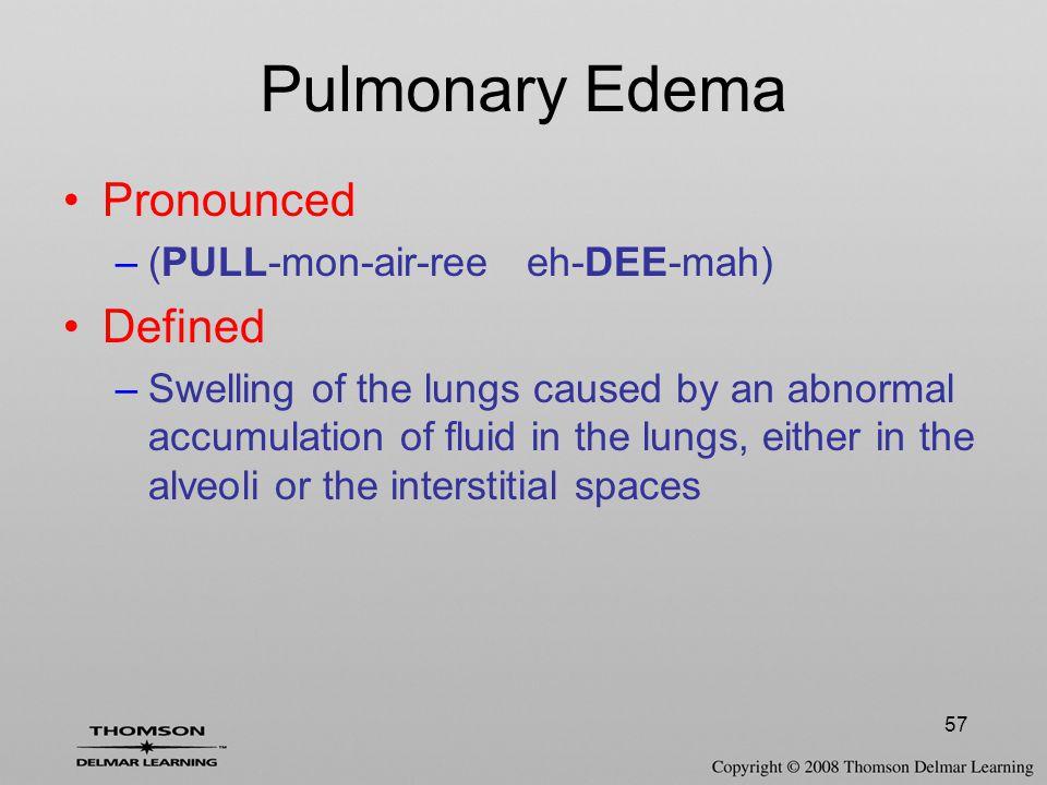 Pulmonary Edema Pronounced Defined (PULL-mon-air-ree eh-DEE-mah)