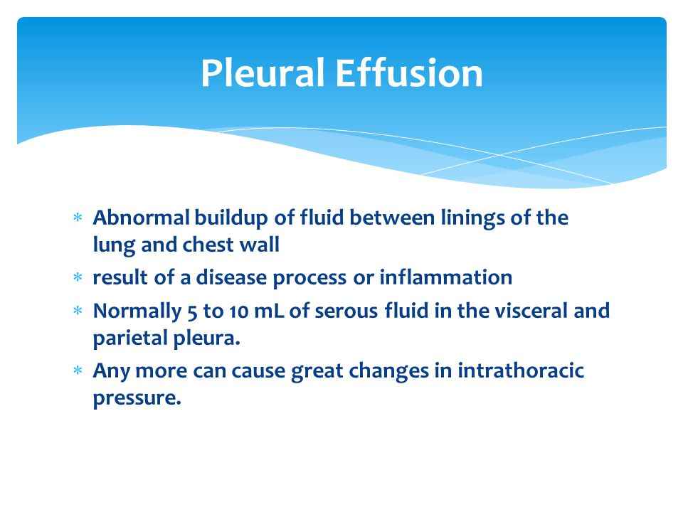 Pleural Effusion Abnormal buildup of fluid between linings of the lung and chest wall. result of a disease process or inflammation.
