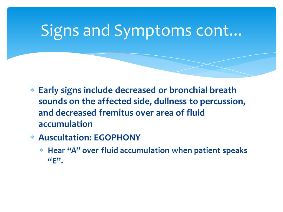 Signs and Symptoms cont...