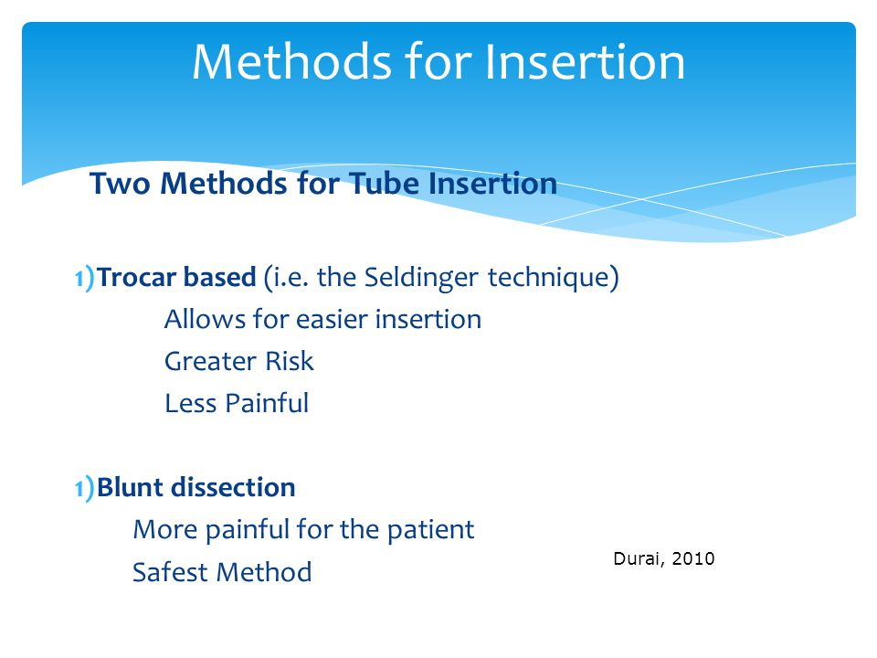 Methods for Insertion Two Methods for Tube Insertion