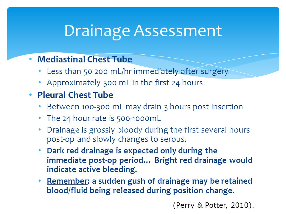 Drainage Assessment Mediastinal Chest Tube Pleural Chest Tube
