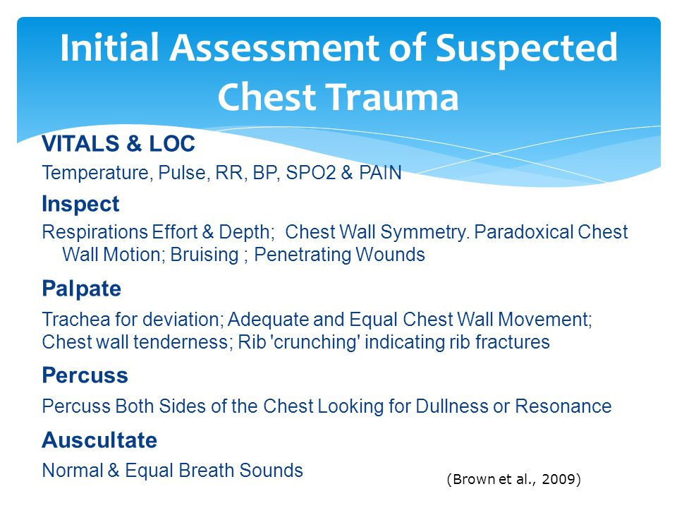 Initial Assessment of Suspected Chest Trauma