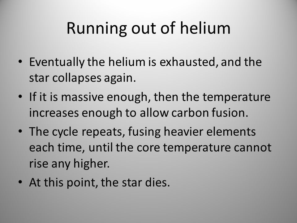 Running out of heliumEventually the helium is exhausted, and the star collapses again.
