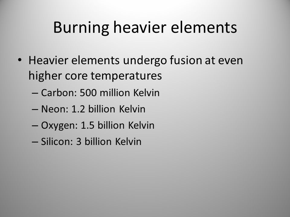Burning heavier elements