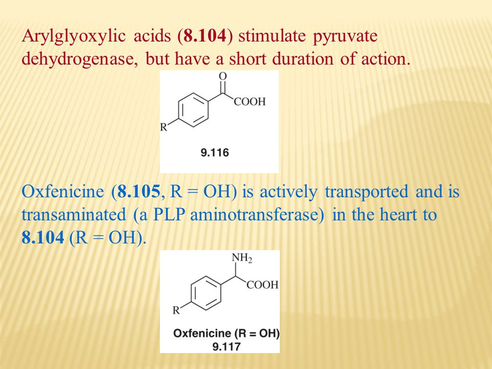Arylglyoxylic acids (8.104) stimulate pyruvate dehydrogenase, but have a short duration of action.