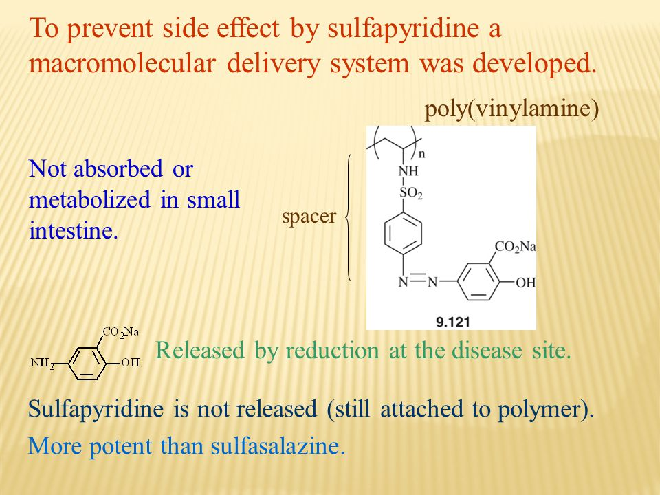To prevent side effect by sulfapyridine a macromolecular delivery system was developed.