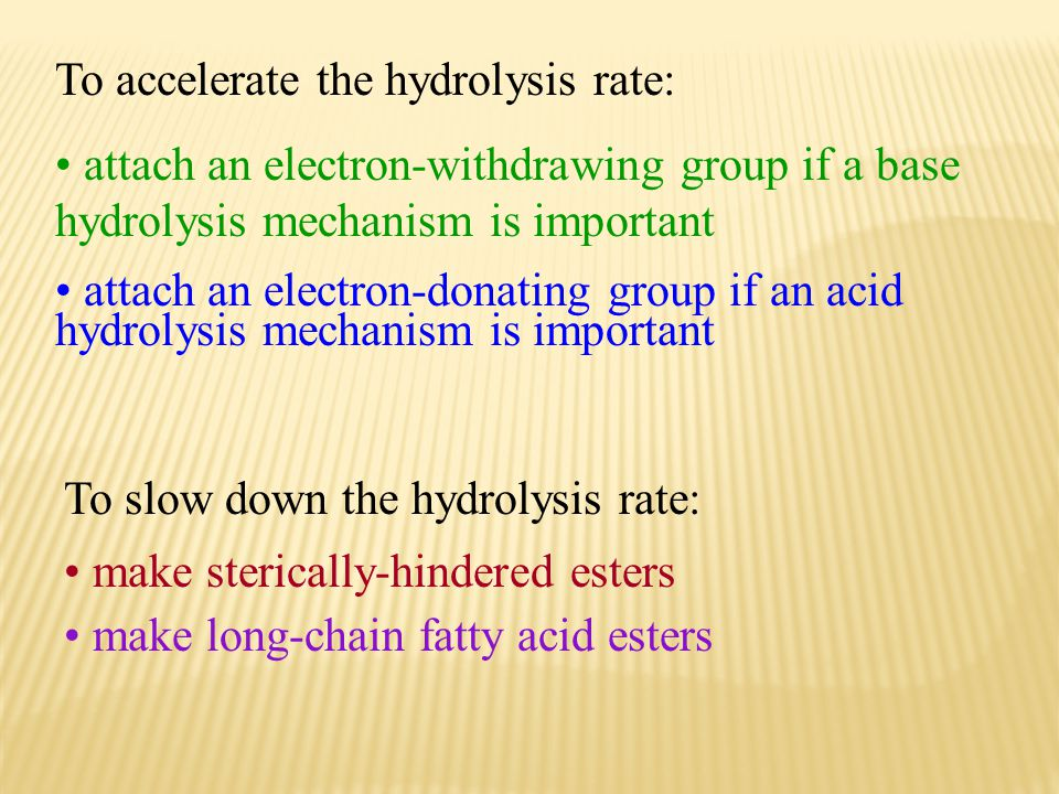 To accelerate the hydrolysis rate: