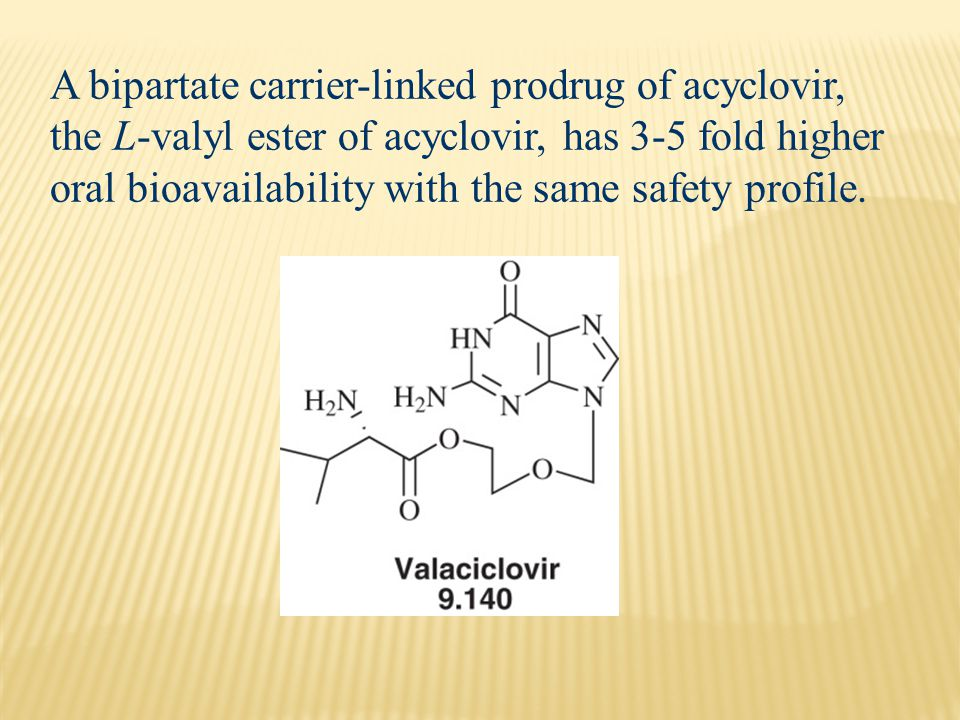 A bipartate carrier-linked prodrug of acyclovir, the L-valyl ester of acyclovir, has 3-5 fold higher oral bioavailability with the same safety profile.
