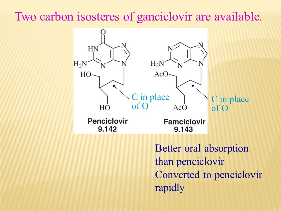 Two carbon isosteres of ganciclovir are available.