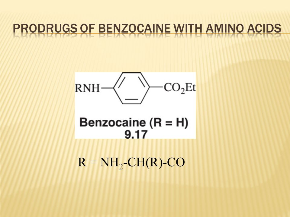 Prodrugs of benzocaine with amino acids