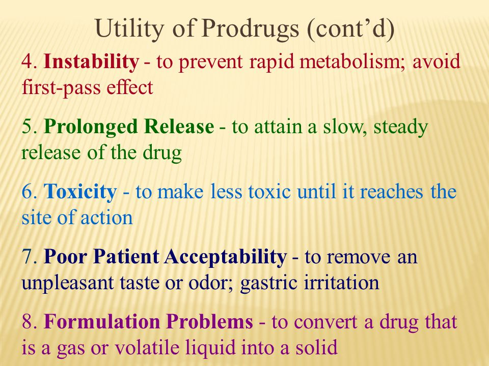 Utility of Prodrugs (cont'd)