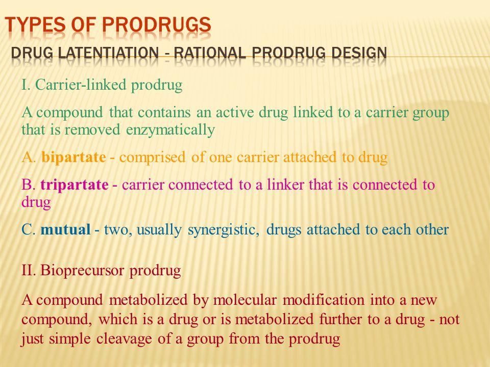 Types of Prodrugs Drug Latentiation - rational prodrug design