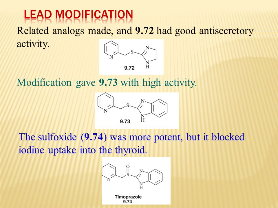 Lead Modification Related analogs made, and 9.72 had good antisecretory activity. Modification gave 9.73 with high activity.