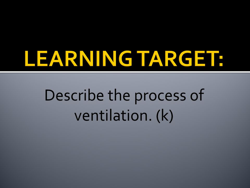 Describe the process of ventilation. (k)