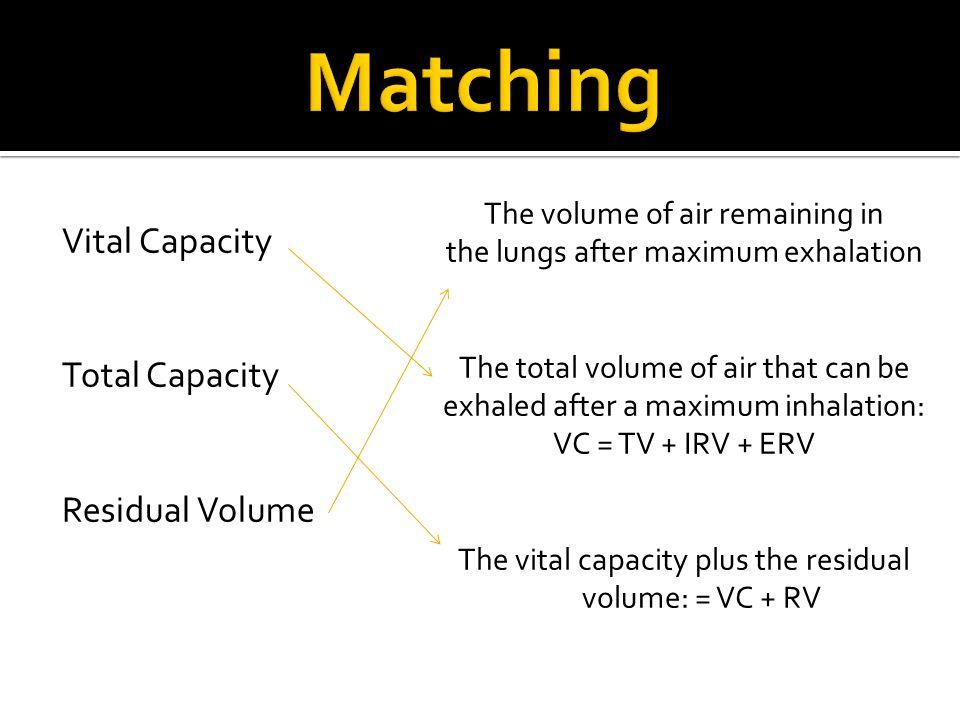Matching Vital Capacity Total Capacity Residual Volume