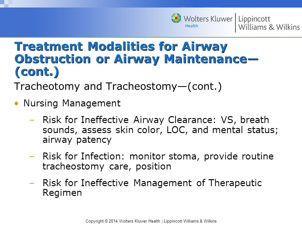 Treatment Modalities for Airway Obstruction or Airway Maintenance—(cont.)
