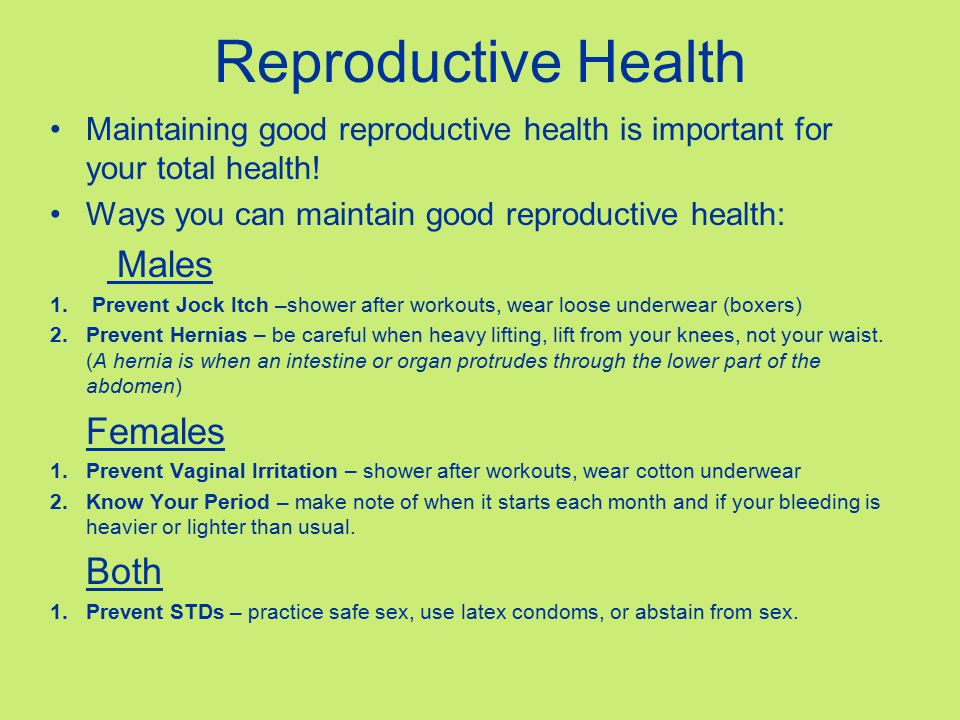 Reproductive Health Males Females