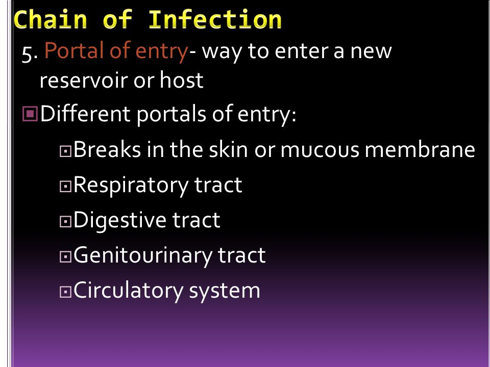 Chain of Infection 5. Portal of entry- way to enter a new reservoir or host. Different portals of entry: