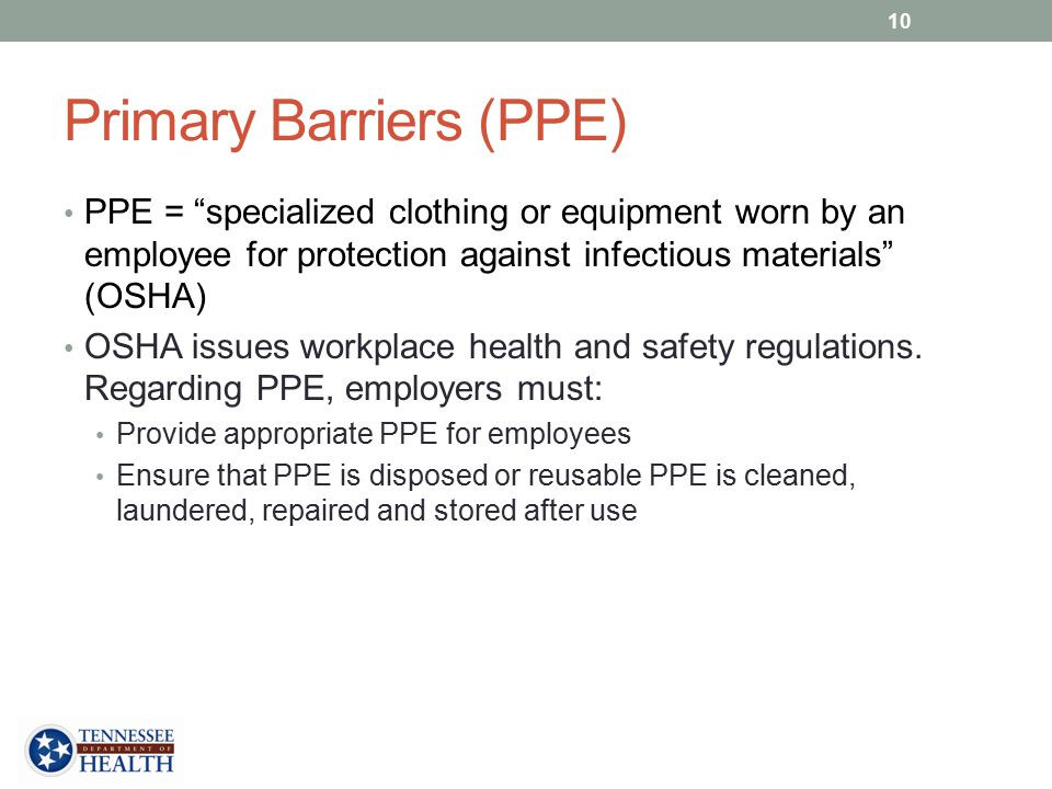 Primary Barriers (PPE)
