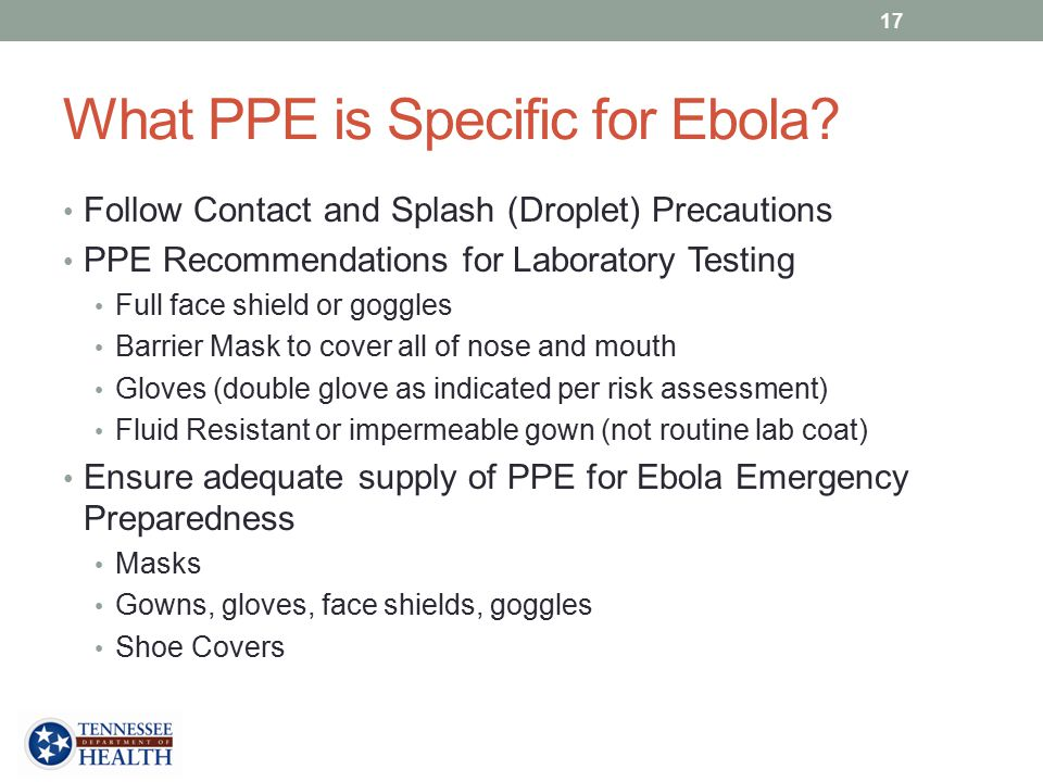 What PPE is Specific for Ebola