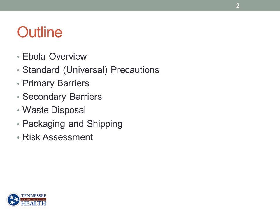 Outline Ebola Overview Standard (Universal) Precautions