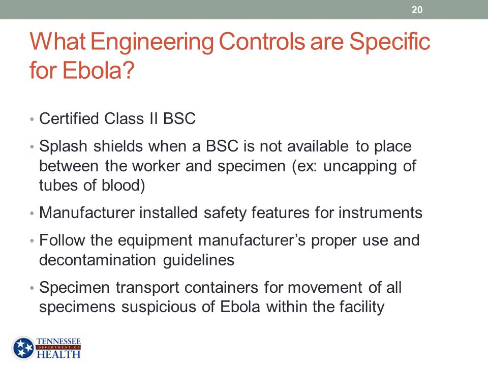 What Engineering Controls are Specific for Ebola
