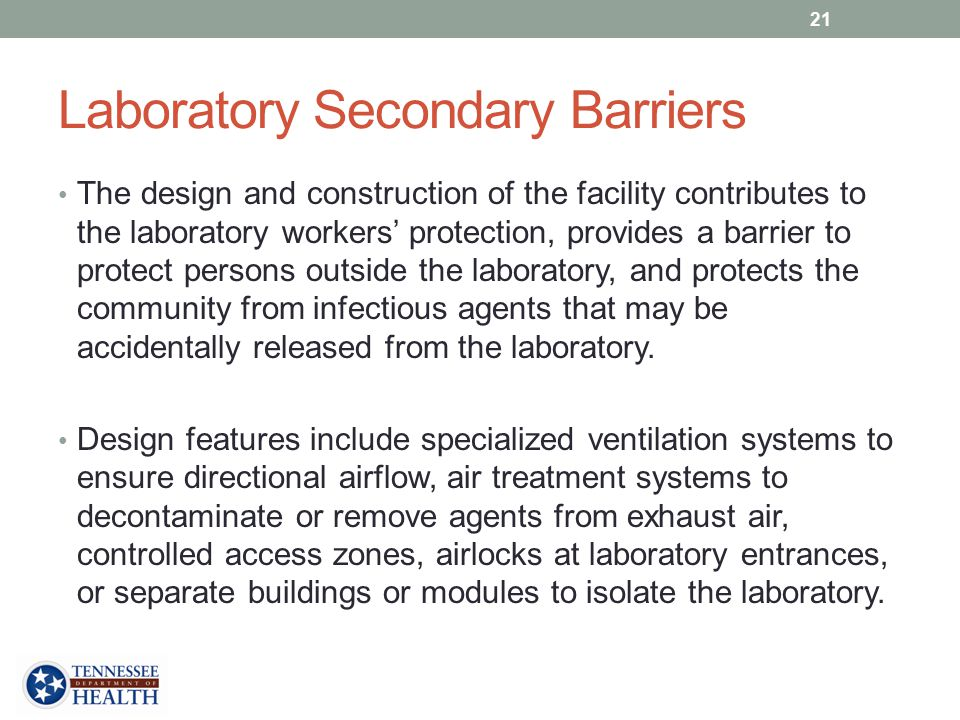 Laboratory Secondary Barriers