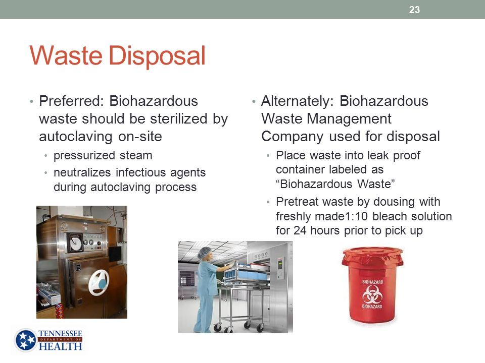 Waste Disposal Preferred: Biohazardous waste should be sterilized by autoclaving on-site. pressurized steam.
