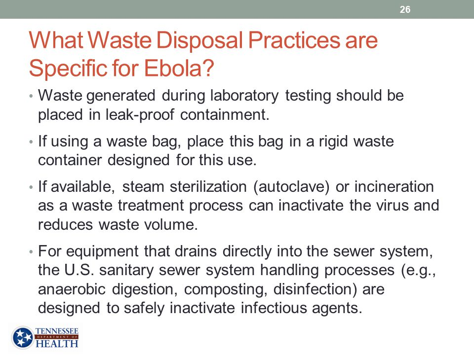 What Waste Disposal Practices are Specific for Ebola